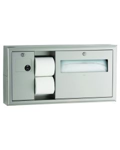 Bobrick 30919 Surface-Mounted Toilet Tissue, Seat-Cover Dispenser and Waste Disposal