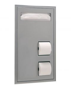 Bobrick 34715 Partition-Mounted Seat-Cover Dispenser and Toilet Tissue Dispenser