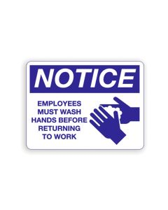 Employee's Must Wash Hands Notice Sign